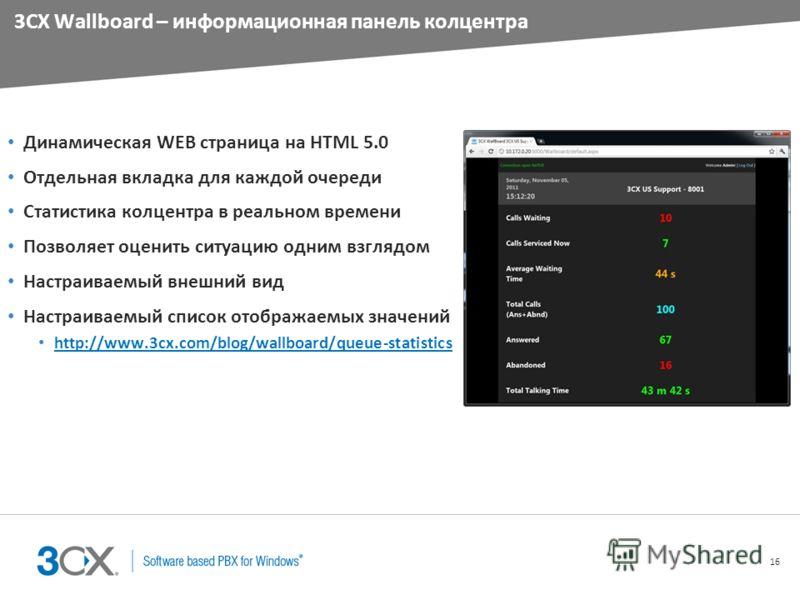 16 3CX Wallboard – информационная панель колцентра Динамическая WEB страница на HTML 5.0 Отдельная вкладка для каждой очереди Статистика колцентра в реальном времени Позволяет оценить ситуацию одним взглядом Настраиваемый внешний вид Настраиваемый сп