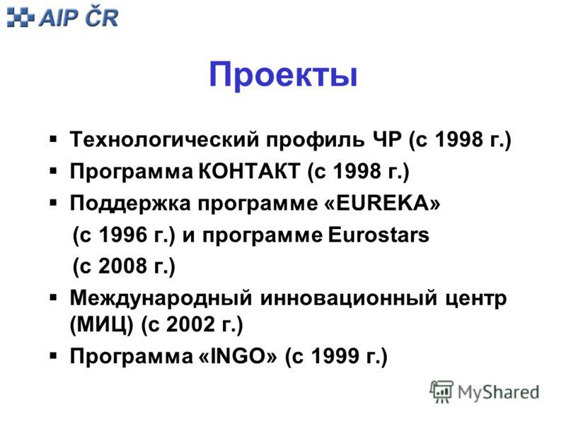 Проекты Технологический профиль ЧР (с 1998 г.) Программа КОНТАКТ (с 1998 г.) Поддержка программе «EUREKA» (с 1996 г.) и программе Eurostars (с 2008 г.) Международный инновационный центр (MИЦ) (с 2002 г.) Программа «INGO» (с 1999 г.)