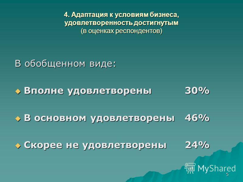 5 4. Адаптация к условиям бизнеса, удовлетворенность достигнутым (в оценках респондентов) В обобщенном виде: Вполне удовлетворены 30% Вполне удовлетворены 30% В основном удовлетворены 46% В основном удовлетворены 46% Скорее не удовлетворены24% Скорее