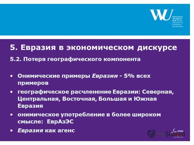5. Евразия в экономическом дискурсе 5.2. Потеря географического компонента Онимические примеры Евразии - 5% всех примеров географическое расчленение Евразии: Северная, Центральная, Восточная, Большая и Южная Евразия онимическое употребление в более ш