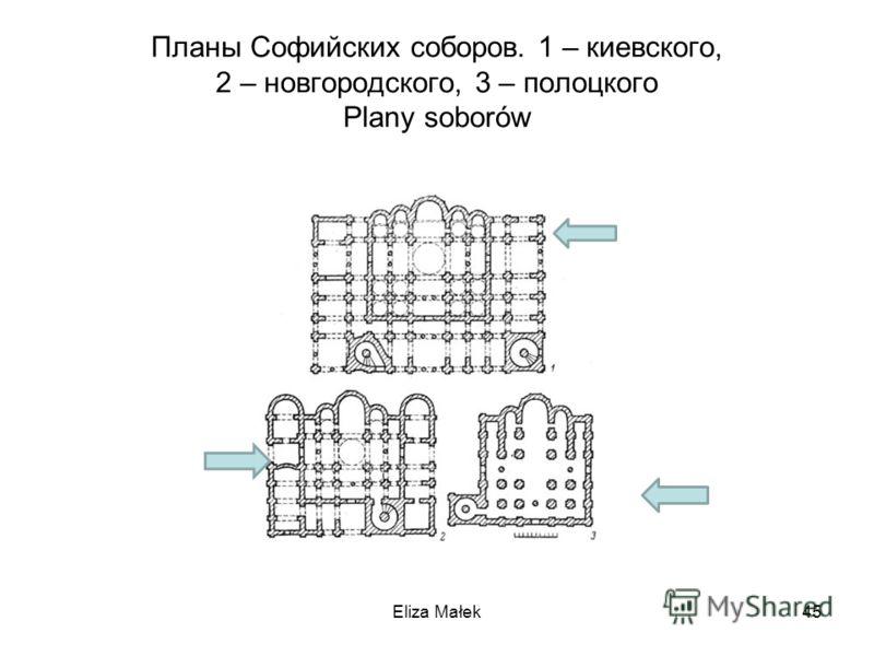 Планы Софийских соборов. 1 – киевского, 2 – новгородского, 3 – полоцкого Plany soborów Eliza Małek45