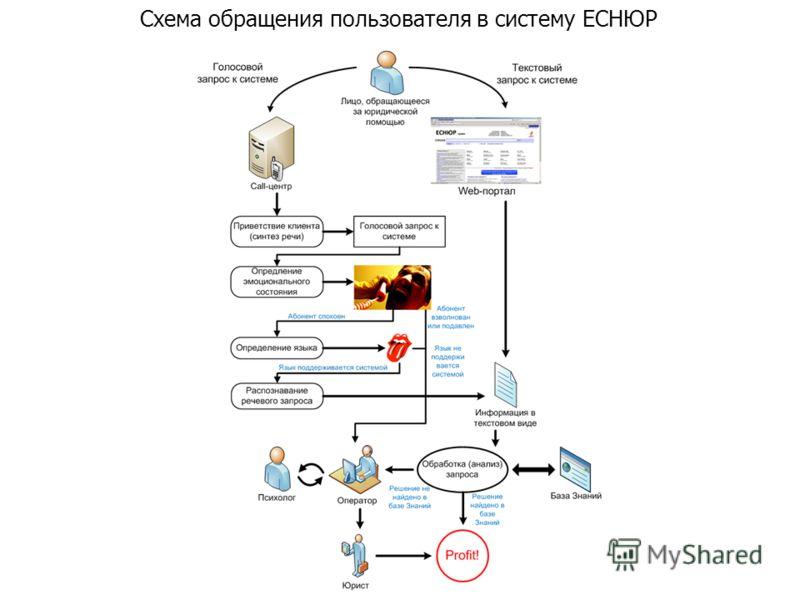 Схема обращения пользователя в систему ЕСНЮР