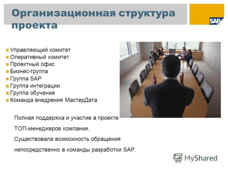 Организационная структура проекта Управляющий комитет Оперативный комитет Проектный офис Бизнес-группа Группа SAP Группа интеграции Группа обучения Команда внедрения МастерДата Полная поддержка и участие в проекте ТОП-менеджеров компании. Существовал