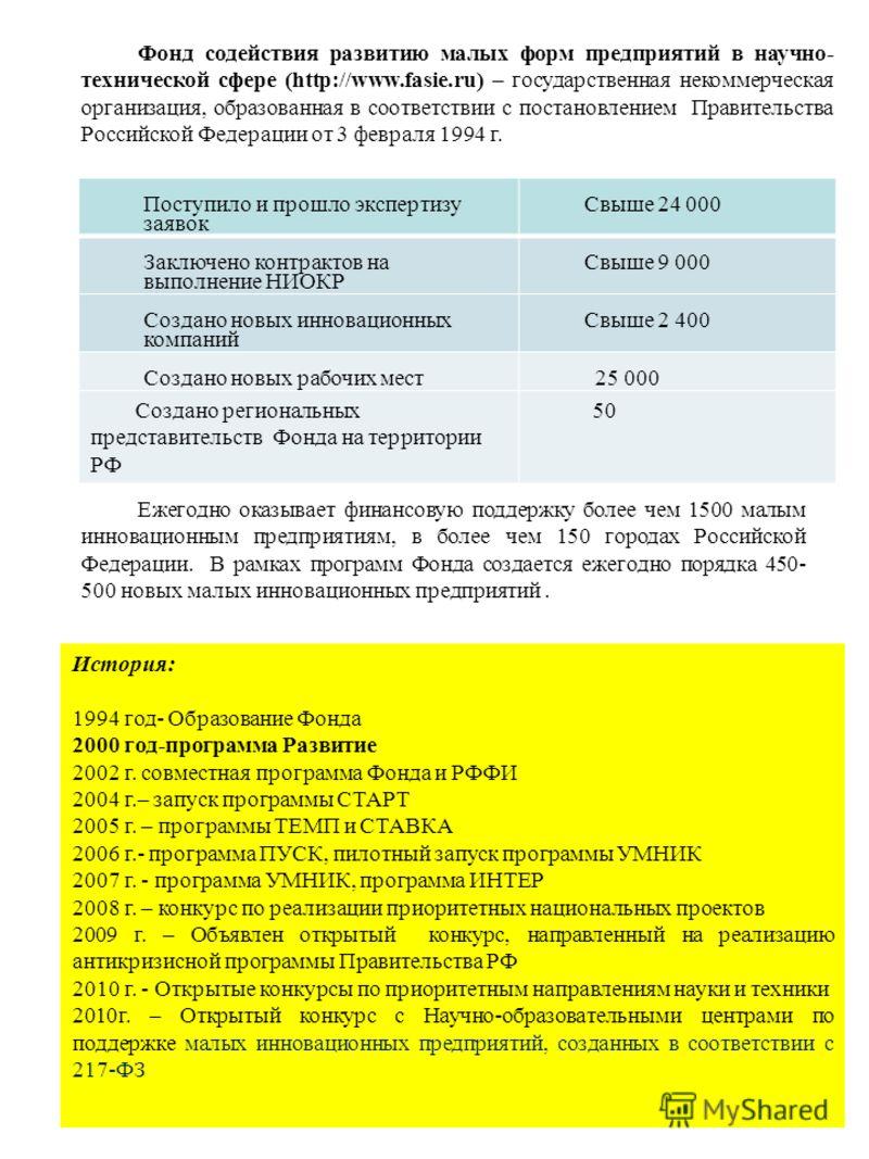 Фонд содействия развитию малых форм предприятий в научно- технической сфере (http://www.fasie.ru) – государственная некоммерческая организация, образованная в соответствии с постановлением Правительства Российской Федерации от 3 февраля 1994 г. Посту