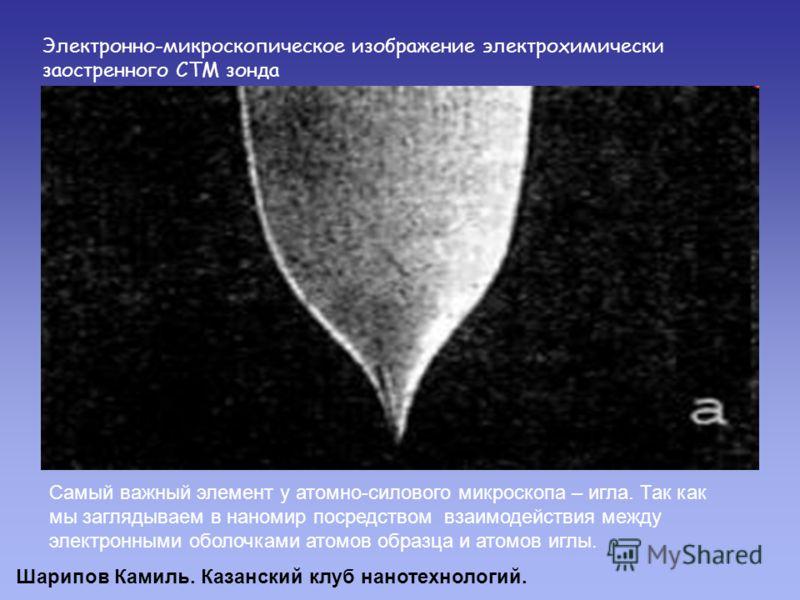 Электронно-микроскопическое изображение электрохимически заостренного СТМ зонда Самый важный элемент у атомно-силового микроскопа – игла. Так как мы заглядываем в наномир посредством взаимодействия между электронными оболочками атомов образца и атомо
