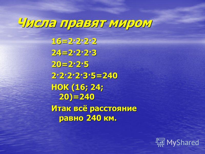 Числа правят миром Числа правят миром 16=2·2·2·2 24=2·2·2·3 20=2·2·5 2·2·2·2·3·5=240 НОК (16; 24; 20)=240 Итак всё расстояние равно 240 км.