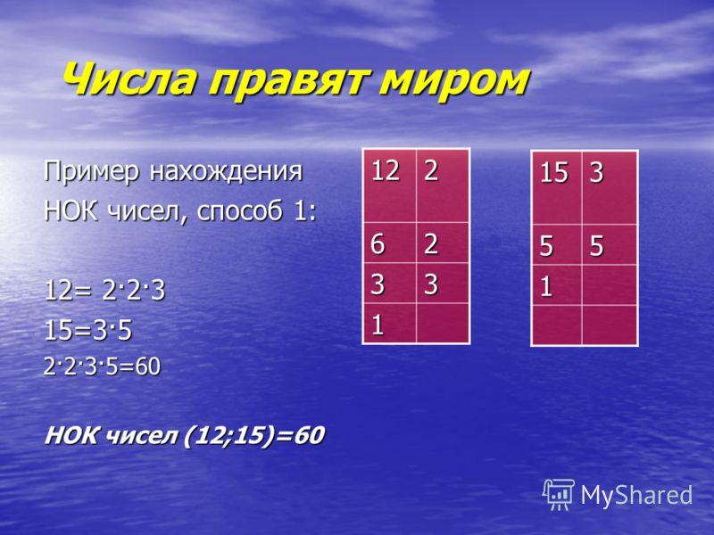 Числа правят миром Числа правят миром Пример нахождения НОК чисел, способ 1: 12= 2·2·3 15=3·5 2·2·3·5=60 НОК чисел (12;15)=60 122 62 33 1 15355 1