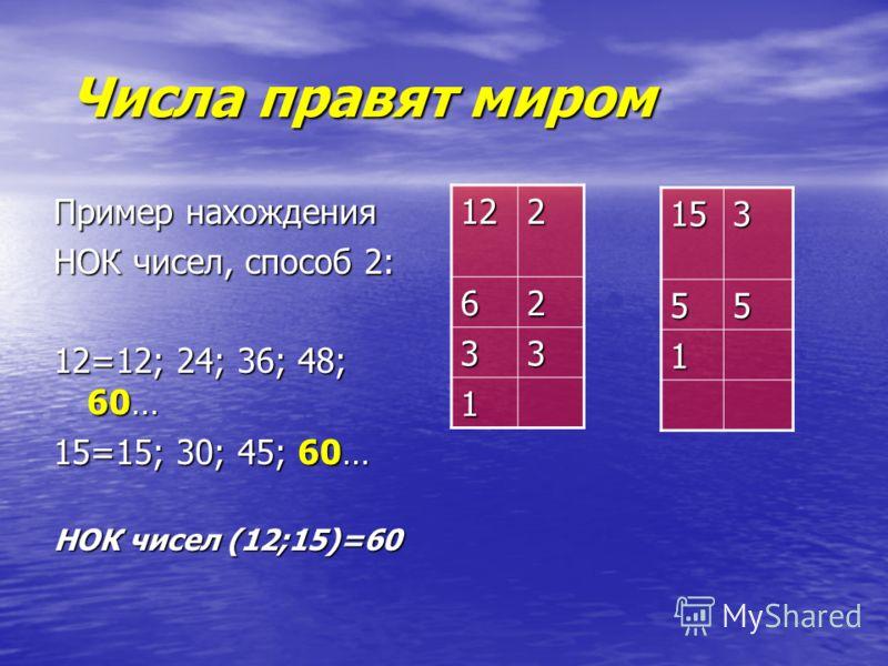 Числа правят миром Числа правят миром Пример нахождения НОК чисел, способ 2: 12=12; 24; 36; 48; 60… 15=15; 30; 45; 60… НОК чисел (12;15)=60 122 62 33 1 15355 1