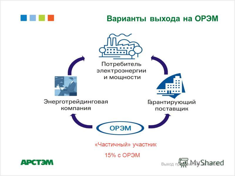 Варианты выхода на ОРЭМ «Частичный» участник 15% с ОРЭМ Выход предприятия на ОРЭМ