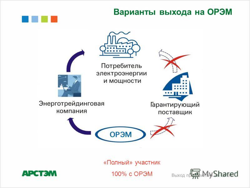 «Полный» участник 100% с ОРЭМ Выход предприятия на ОРЭМ Варианты выхода на ОРЭМ