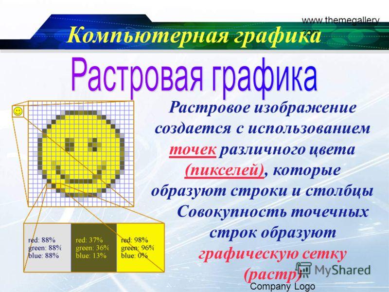 www.themegallery. com Company Logo Компьютерная графика Растровое изображение создается с использованием точек различного цвета (пикселей), которые образуют строки и столбцы Совокупность точечных строк образуют графическую сетку (растр)