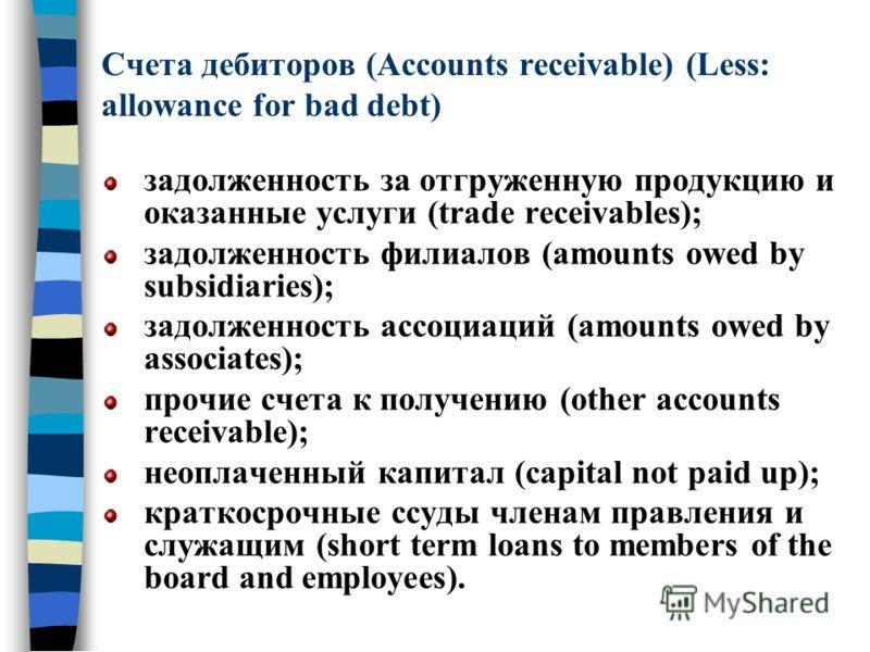 Счета дебиторов (Accounts receivable) (Less: allowance for bad debt) задолженность за отгруженную продукцию и оказанные услуги (trade receivables); задолженность филиалов (amounts owed by subsidiaries); задолженность ассоциаций (amounts owed by assoc