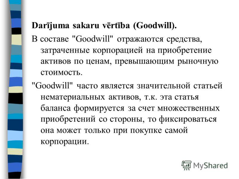 Darījuma sakaru vērtība (Goodwill). В составе