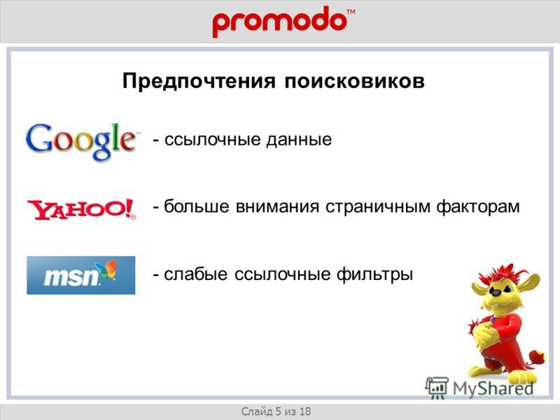 v Слайд 5 из 18 Предпочтения поисковиков - ссылочные данные - больше внимания страничным факторам - слабые ссылочные фильтры