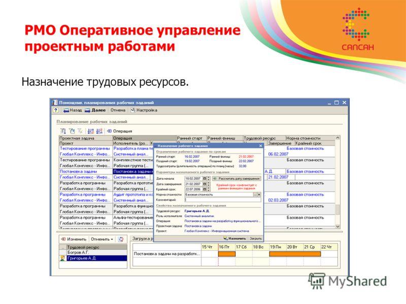 PMO Оперативное управление проектным работами Назначение трудовых ресурсов.