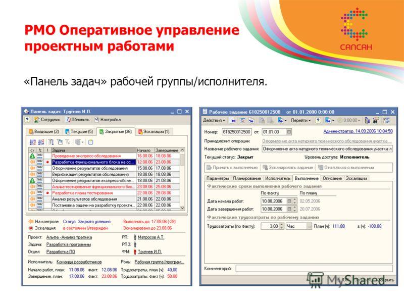 PMO Оперативное управление проектным работами «Панель задач» рабочей группы/исполнителя.