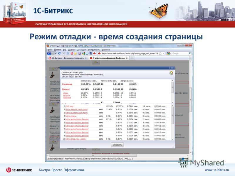 Режим отладки - время создания страницы