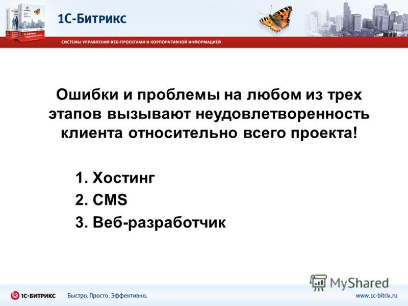 Ошибки и проблемы на любом из трех этапов вызывают неудовлетворенность клиента относительно всего проекта! 1. Хостинг 2. CMS 3. Веб-разработчик