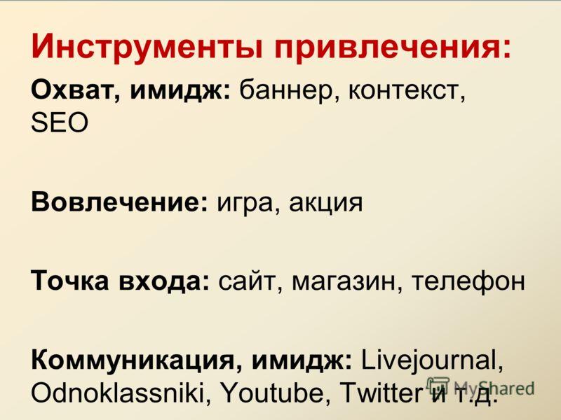 Инструменты привлечения: Охват, имидж: баннер, контекст, SEO Вовлечение: игра, акция Точка входа: сайт, магазин, телефон Коммуникация, имидж: Livejournal, Odnoklassniki, Youtube, Twitter и т.д.