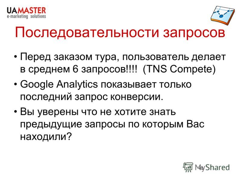 40 Последовательности запросов Перед заказом тура, пользователь делает в среднем 6 запросов!!!! (TNS Compete) Google Analytics показывает только последний запрос конверсии. Вы уверены что не хотите знать предыдущие запросы по которым Вас находили?
