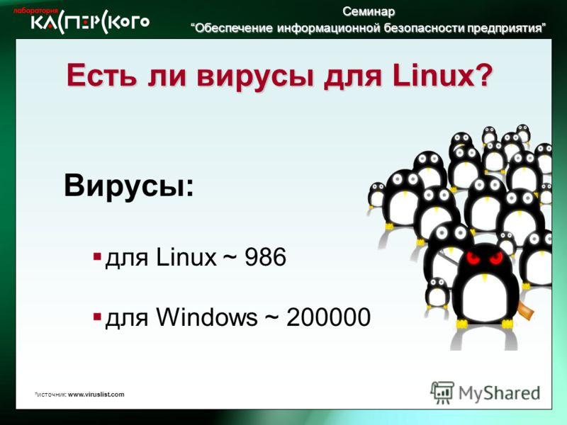 Семинар Обеспечение информационной безопасности предприятия Обеспечение информационной безопасности предприятия Есть ли вирусы для Linux? Вирусы: для Linux ~ 986 для Windows ~ 200000 *источник: www.viruslist.com