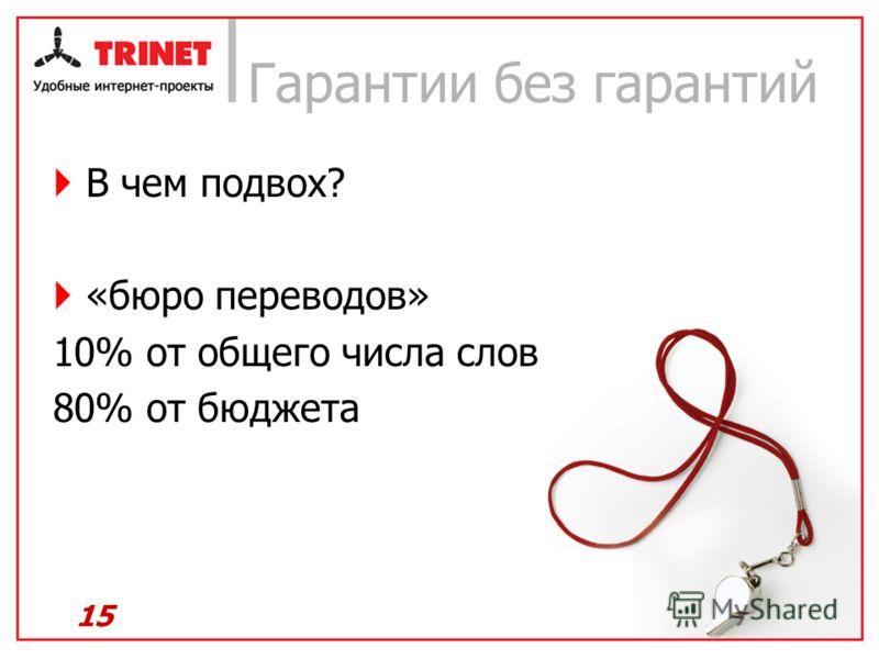 Гарантии без гарантий В чем подвох? «бюро переводов» 10% от общего числа слов 80% от бюджета 15