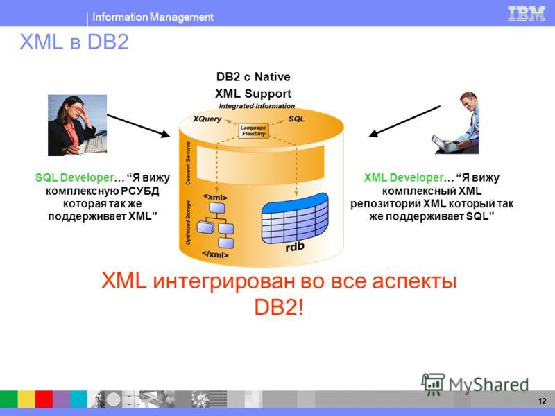 Information Management 12 XML в DB2 DB2 с Native XML Support SQL Developer… Я вижу комплексную РСУБД которая так же поддерживает XML