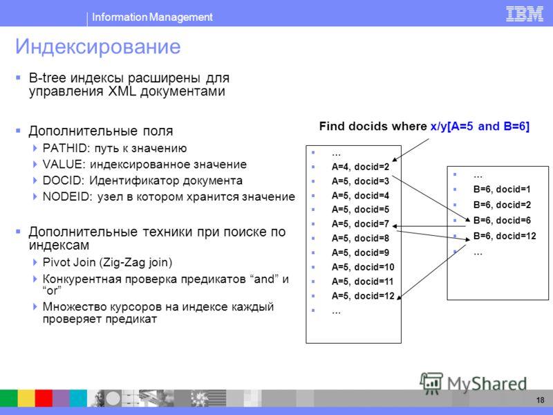 Information Management 18 Индексирование B-tree индексы расширены для управления XML документами Дополнительные поля PATHID: путь к значению VALUE: индексированное значение DOCID: Идентификатор документа NODEID: узел в котором хранится значение Допол