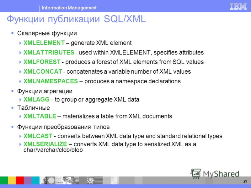 Information Management 29 Функции публикации SQL/XML Скалярные функции XMLELEMENT – generate XML element XMLATTRIBUTES - used within XMLELEMENT, specifies attributes XMLFOREST - produces a forest of XML elements from SQL values XMLCONCAT - concatenat