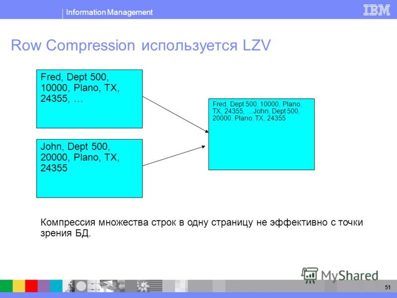 Information Management 51 Row Compression используется LZV John, Dept 500, 20000, Plano, TX, 24355 Компрессия множества строк в одну страницу не эффективно с точки зрения БД. Fred, Dept 500, 10000, Plano, TX, 24355, … Fred, Dept 500, 10000, Plano, TX