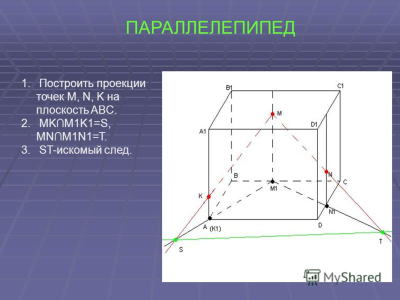 ПАРАЛЛЕЛЕПИПЕД 1. Построить проекции точек M, N, K на плоскость ABC. 2. MKM1K1=S, MNM1N1=T. 3. ST-искомый след.
