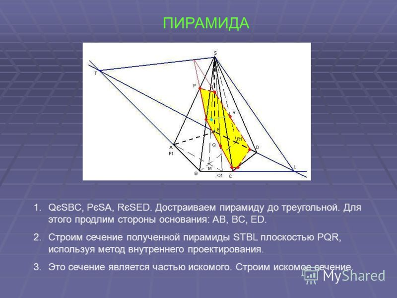 ПИРАМИДА 1.QєSBC, PєSA, RєSED. Достраиваем пирамиду до треугольной. Для этого продлим стороны основания: AB, BC, ED. 2.Строим сечение полученной пирамиды STBL плоскостью PQR, используя метод внутреннего проектирования. 3.Это сечение является частью и