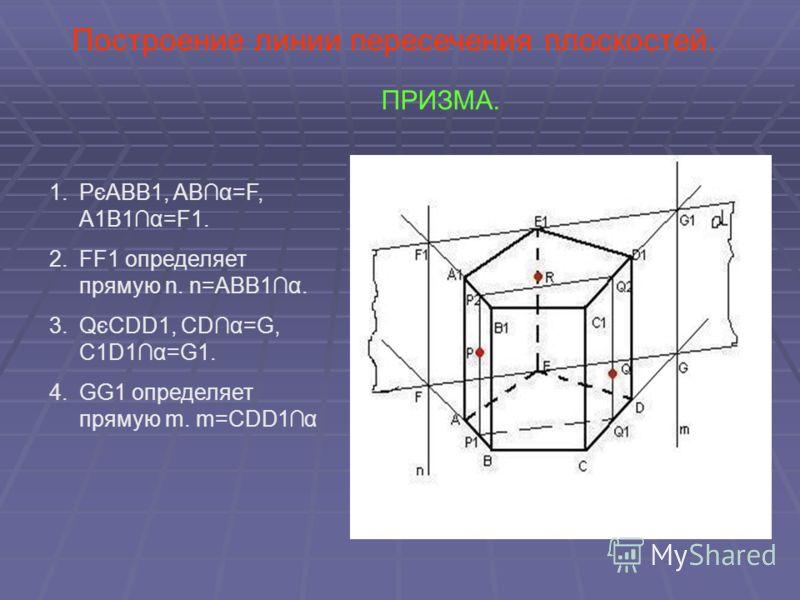 Построение линии пересечения плоскостей. ПРИЗМА. 1.PєABB1, ABα=F, A1B1α=F1. 2.FF1 определяет прямую n. n=ABB1α. 3.QєCDD1, CDα=G, C1D1α=G1. 4.GG1 определяет прямую m. m=CDD1α