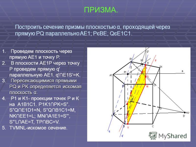 ПРИЗМА. Построить сечение призмы плоскостью α, проходящей через прямую PQ параллельно AE1; PєBE, QєE1C1. 1. Проведем плоскость через прямую AE1 и точку P. 2. В плоскости AE1P через точку P проведем прямую q' параллельную AE1. q'E1S=K. Пересекающимися