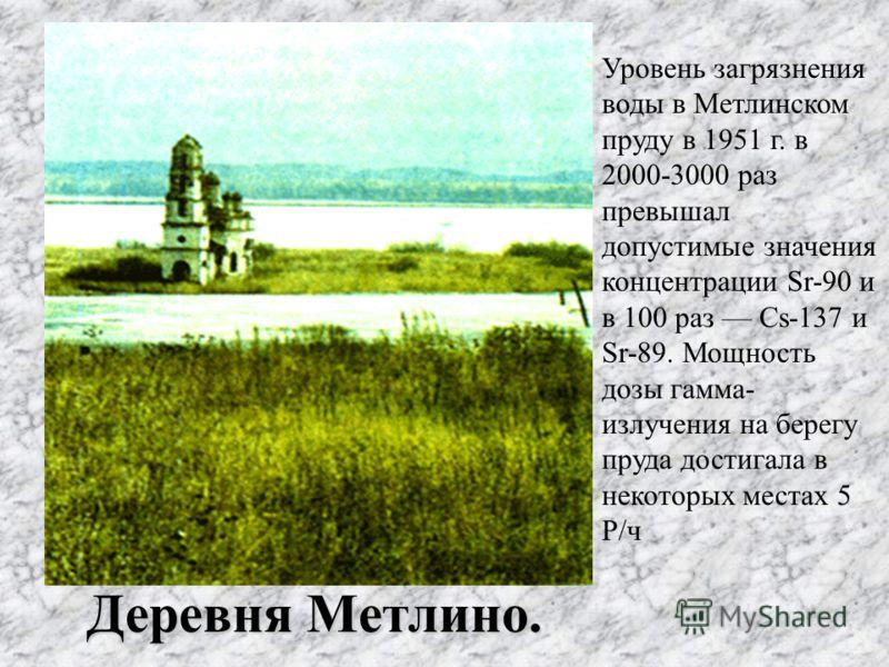 Деревня Метлино. Уровень загрязнения воды в Метлинском пруду в 1951 г. в 2000-3000 раз превышал допустимые значения концентрации Sr-90 и в 100 раз Cs-137 и Sr-89. Мощность дозы гамма- излучения на берегу пруда достигала в некоторых местах 5 Р/ч