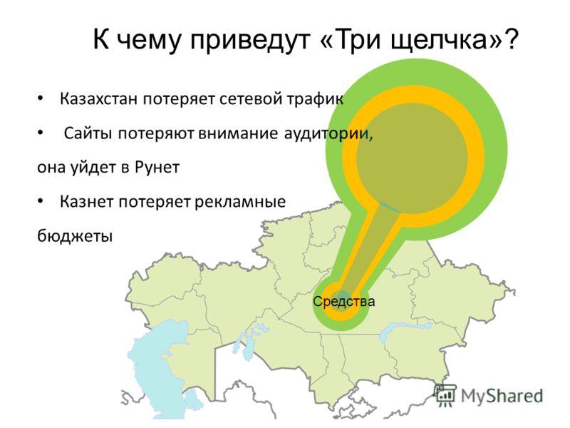 Казахстан потеряет сетевой трафик Сайты потеряют внимание аудитории, она уйдет в Рунет Казнет потеряет рекламные бюджеты К чему приведут «Три щелчка»? Средства