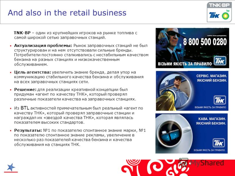 And also in the retail business TNK-BP – один из крупнейших игроков на рынке топлива с самой широкой сетью заправочных станций. Актуализация проблемы: Рынок заправочных станций не был структурирован и на нем отсутствовали сильные бренды. Потребители