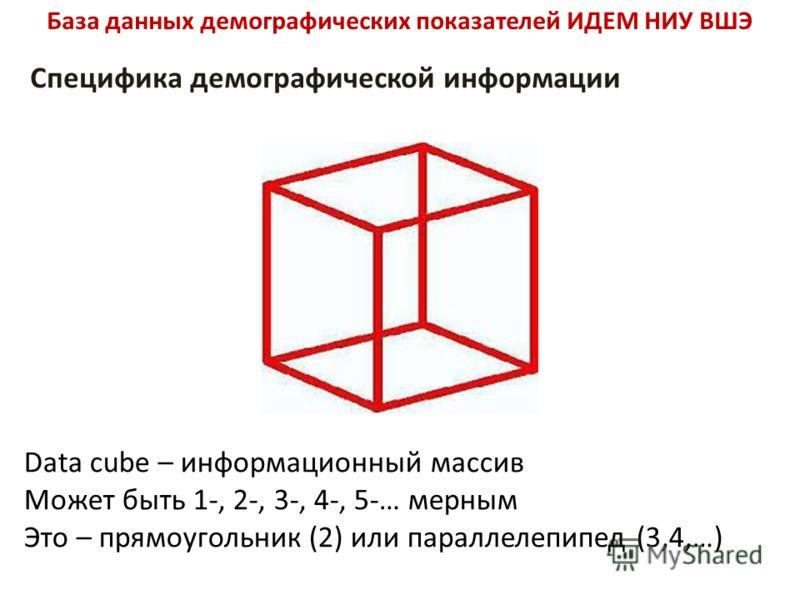 База данных демографических показателей ИДЕМ НИУ ВШЭ Специфика демографической информации Data cube – информационный массив Может быть 1-, 2-, 3-, 4-, 5-… мерным Это – прямоугольник (2) или параллелепипед (3,4,…)