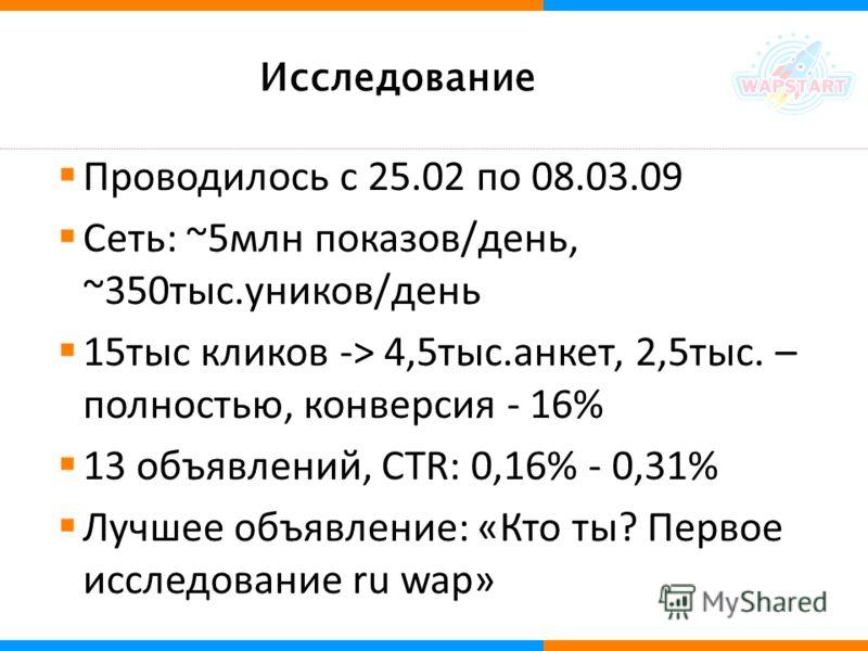 Исследование Проводилось с 25.02 по 08.03.09 Сеть: ~5млн показов/день, ~350тыс.уников/день 15тыс кликов -> 4,5тыс.анкет, 2,5тыс. – полностью, конверсия - 16% 13 объявлений, CTR: 0,16% - 0,31% Лучшее объявление: «Кто ты? Первое исследование ru wap»