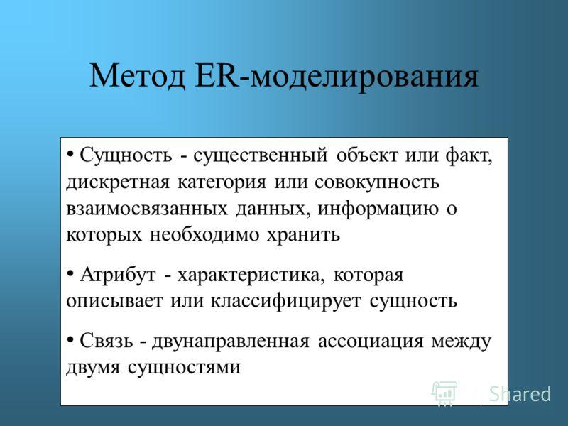Метод ER-моделирования Сущность - существенный объект или факт, дискретная категория или совокупность взаимосвязанных данных, информацию о которых необходимо хранить Атрибут - характеристика, которая описывает или классифицирует сущность Связь - двун