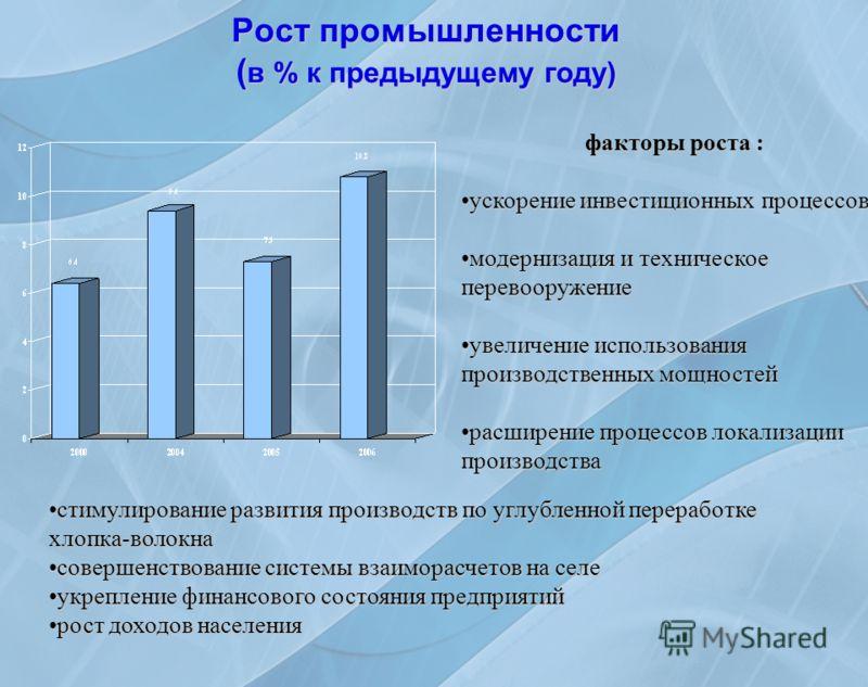 Рост промышленности ( в % к предыдущему году) факторы роста : ускорениеускорение инвестиционных процессов модернизациямодернизация и техническое перевооружение увеличениеувеличение использования производственных мощностей расширениерасширение процесс
