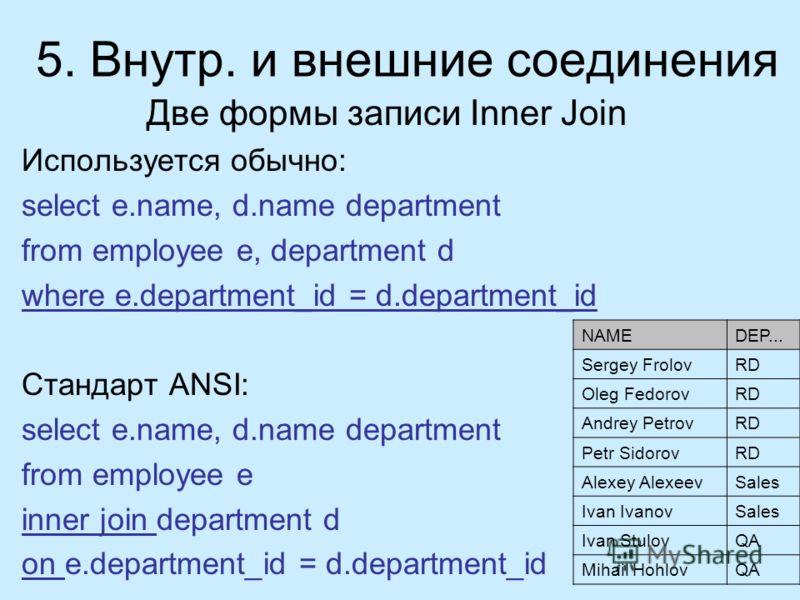 Две формы записи Inner Join Используется обычно: select e.name, d.name department from employee e, department d where e.department_id = d.department_id Стандарт ANSI: select e.name, d.name department from employee e inner join department d on e.depar