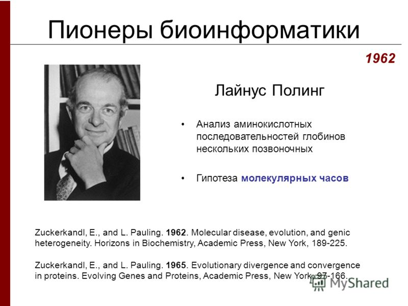 Пионеры биоинформатики Лайнус Полинг 1962 Zuckerkandl, E., and L. Pauling. 1962. Molecular disease, evolution, and genic heterogeneity. Horizons in Biochemistry, Academic Press, New York, 189-225. Zuckerkandl, E., and L. Pauling. 1965. Evolutionary d