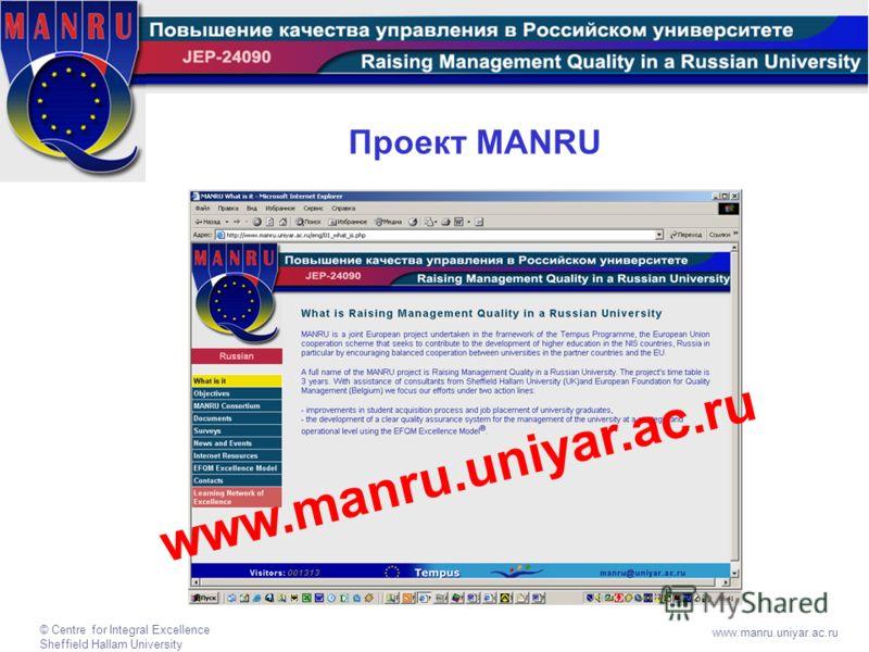 © Centre for Integral Excellence Sheffield Hallam University www.manru.uniyar.ac.ru Проект MANRU w w w. m a n r u. u n i y a r. a c. r u