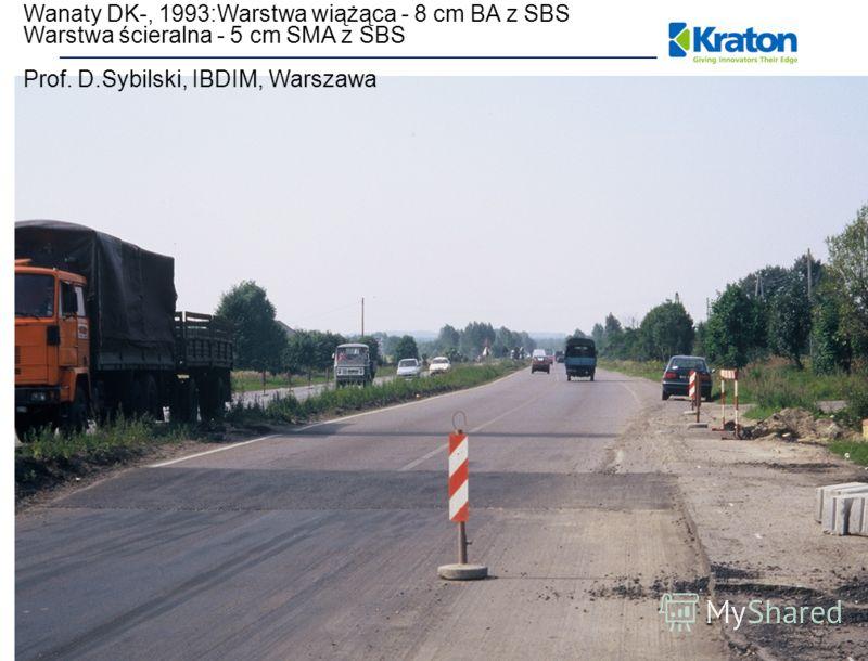 Wanaty DK-, 1993:Warstwa wiążąca - 8 cm BA z SBS Warstwa ścieralna - 5 cm SMA z SBS Prof. D.Sybilski, IBDIM, Warszawa
