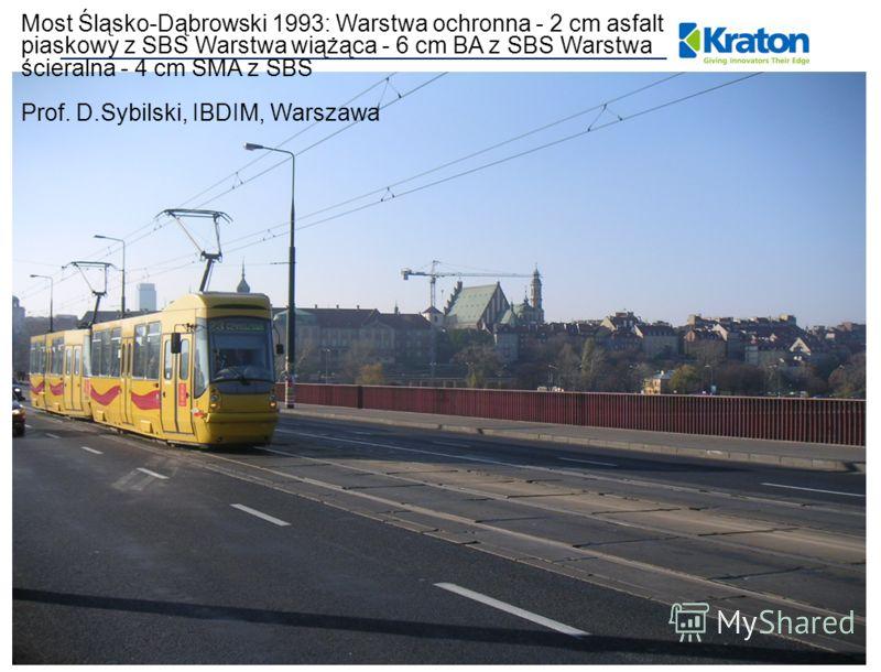 Most Śląsko-Dąbrowski 1993: Warstwa ochronna - 2 cm asfalt piaskowy z SBS Warstwa wiążąca - 6 cm BA z SBS Warstwa ścieralna - 4 cm SMA z SBS Prof. D.Sybilski, IBDIM, Warszawa