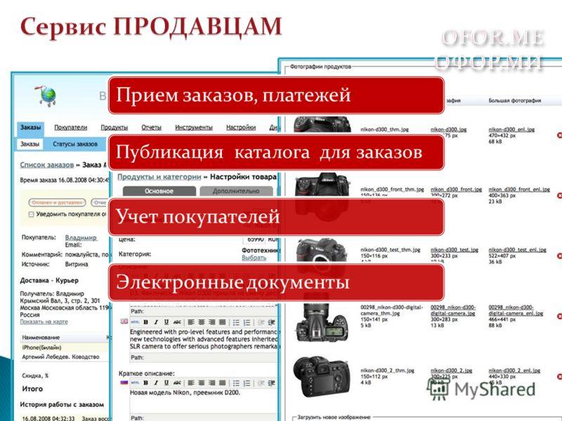 Публикация каталога для заказов Прием заказов, платежейУчет покупателейЭлектронные документы