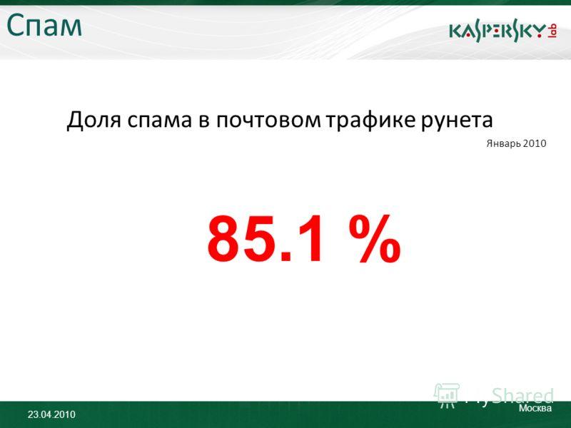 23.04.2010 Москва Спам Доля спама в почтовом трафике рунета Январь 2010 85.1 %