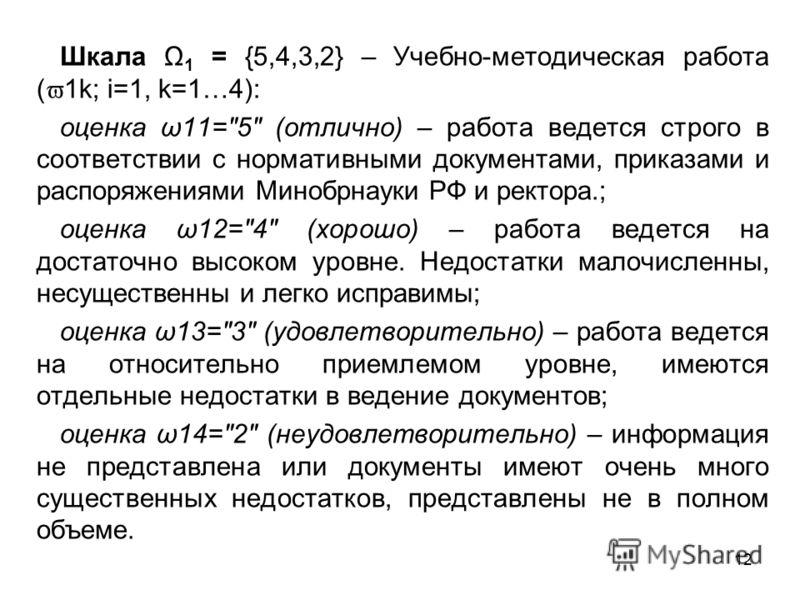 12 Шкала Ω 1 = {5,4,3,2} – Учебно-методическая работа ( 1k; i=1, k=1…4): оценка ω11=