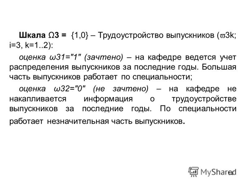 14 Шкала Ω3 = {1,0} – Трудоустройство выпускников ( 3k; i=3, k=1..2): оценка ω31=